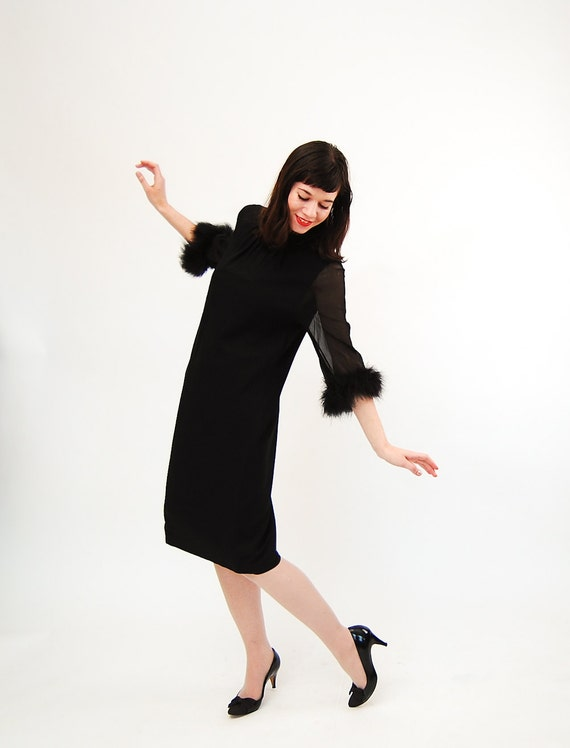 Vintage 1960s Cocktail Dress - 60s Party Dress - Black Feather Sleeves