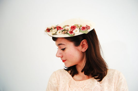 RESERVED - Vintage 1950s Hat - 50s Topper Hat - Red and White Flowers