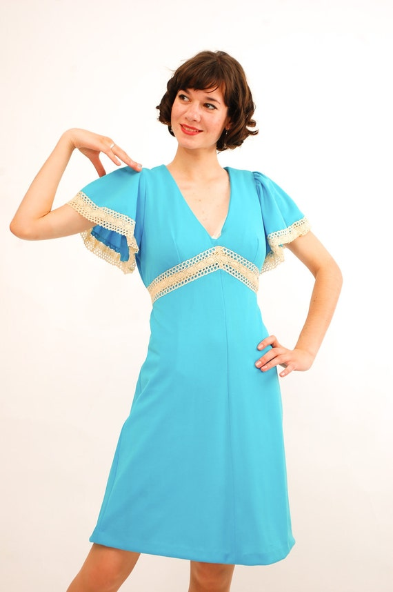 Vintage 1970s Dress - 70s Dolly Dress - Tiffany Blue