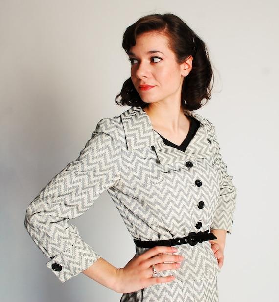 Vintage 1960s Suit - 60s Rayon Suit - Black and White Chevron Print