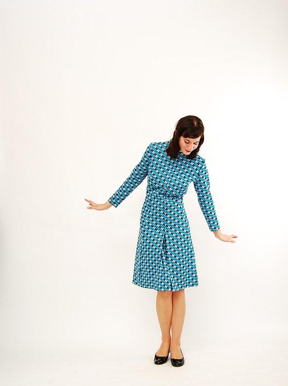Vintage 1960s MOD Dress - 60s Geometric Dress - Shades of Blue