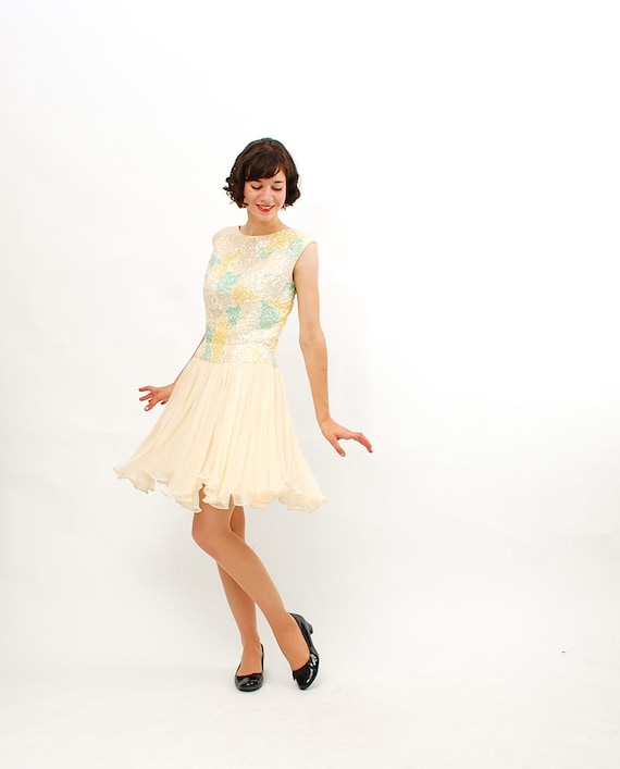 Vintage 1960s Cocktail Dress - 60s Party Dress - Ivory Sequins and Chiffon