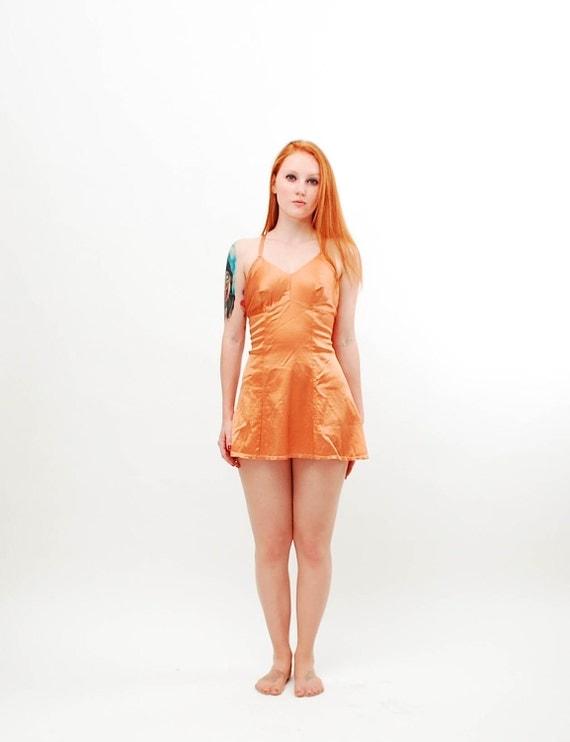 Vintage 1950s Swimsuit - 50s Bathing Suit - Metallic Copper Satin