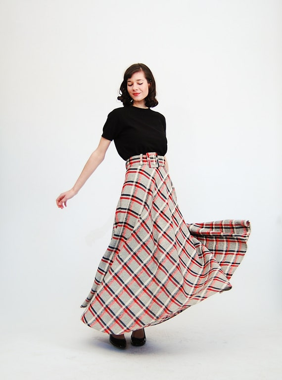 Vintage 1970s Maxi Skirt - 70s Maxi Skirt - Red and Black Plaid Tweed