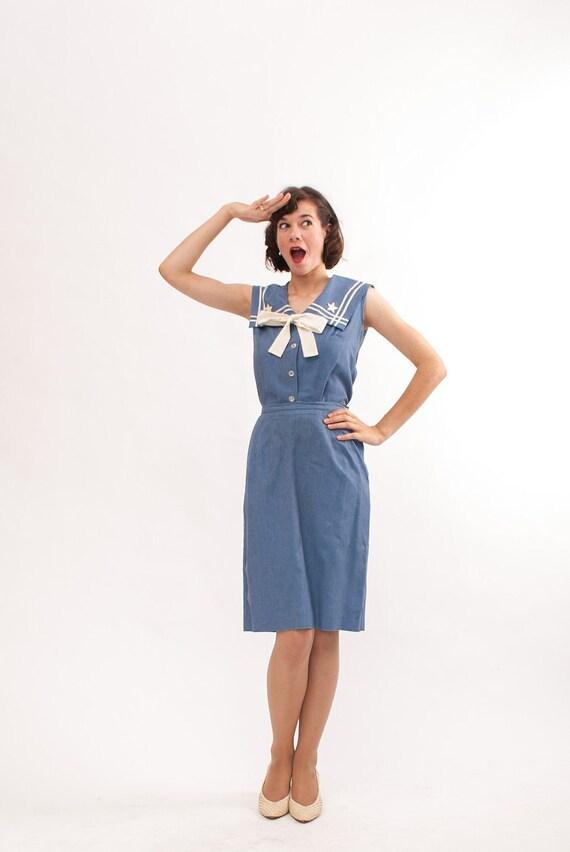 Vintage 1960s Sailor Dress - 60s Nautical Dress - Blue Chambray