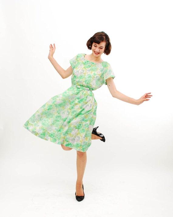 Vintage 1960s Floral Dress - 60s Summer Dress - Green Watercolor Print