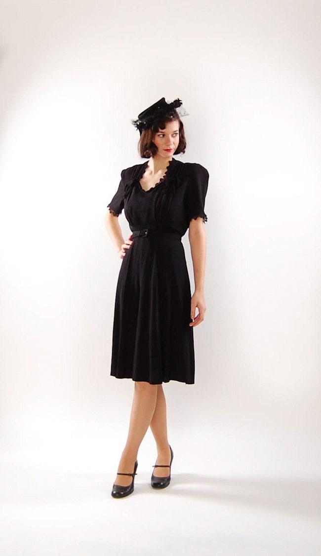 Vintage 1930s Dress 30s Cocktail Dress Black Rayon Crepe