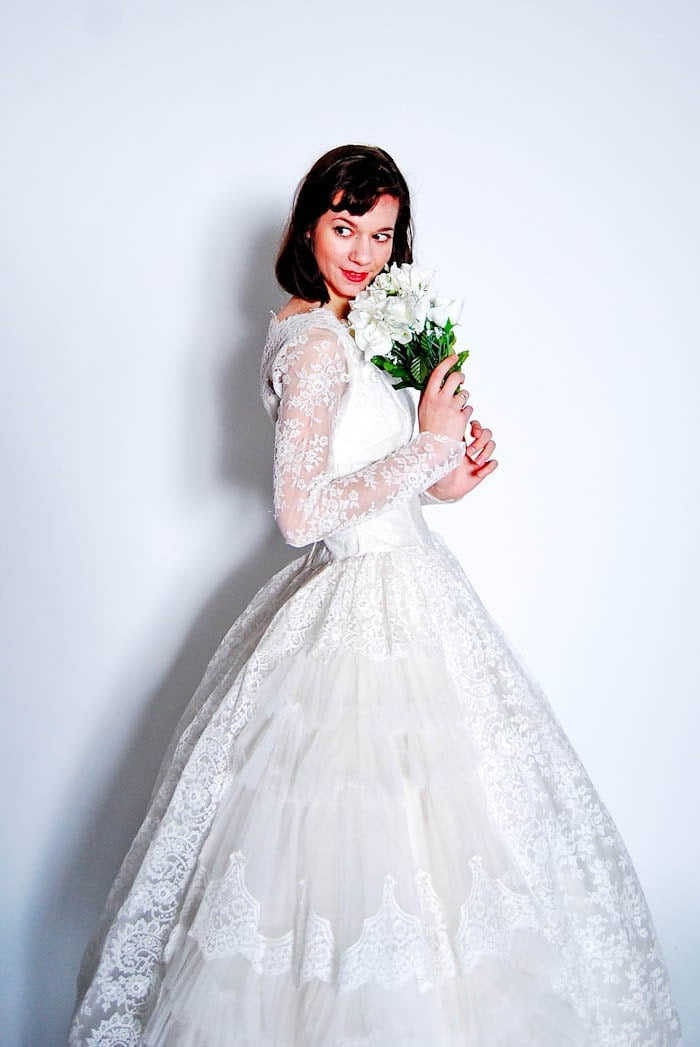 Vintage 1950s wedding dress 50s wedding gown white lace for Vintage 50s wedding dresses