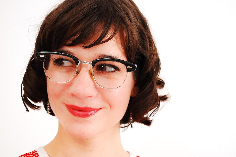 Vintage 1950s Eyeglasses 50s Horn Rimmed Glasses Charcoal