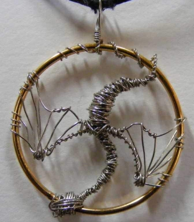 Silver Dragon Wire Wrapped Pendant
