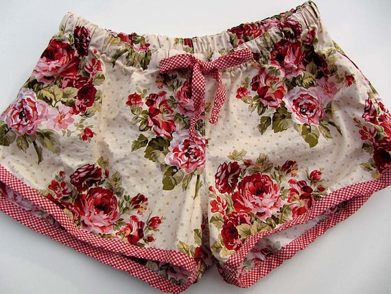 Pretty  Rose Floral and Gingham Pajama Sleep Lounge Shorts  Made to Order