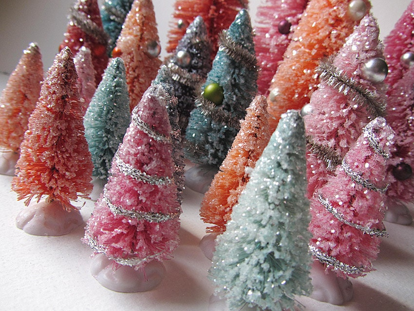 Pretty Pastel Decorated Bottle Brush Christmas Trees