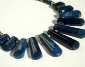 Blue Lapis Lazuli Necklace, Graduated Fan, Collar, Indigo Blue, Gold Fill