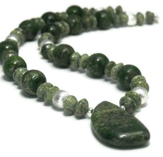 CIJ  Rare Opal Jasper Necklace, Forest Green, Gemstone, Earthy, Woodland , Chunky, Opal Jasper Jewelry, Boho, Natural