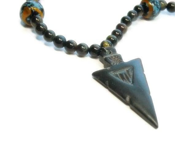 Bone Arrowhead Necklace, Unisex, Tribal, Black Tigers Eye, Southwest, Mens Necklace