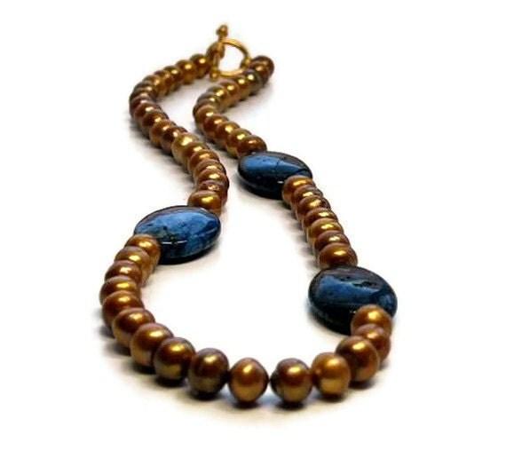 Bronze Pearl Necklace with Deep Blue Lapis Lazuli, Chunky TT Team