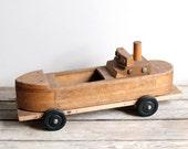 vintage creative playthings wooden tanker toy