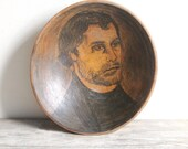 SALE antique munising wooden bowl w/ portrait of a man - reserved for vada