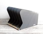 vintage industrial metal gray desk organizer
