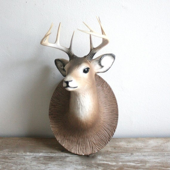 vintage ceramic deer head wall hanging by lacklusterco on etsy
