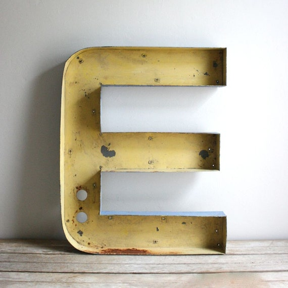 Vintage drive in metal channel letter e for 24 inch channel letters