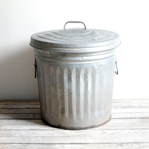 vintage galvanized garbage can