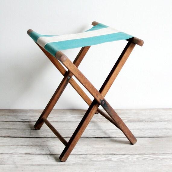 pair of vintage striped folding stools