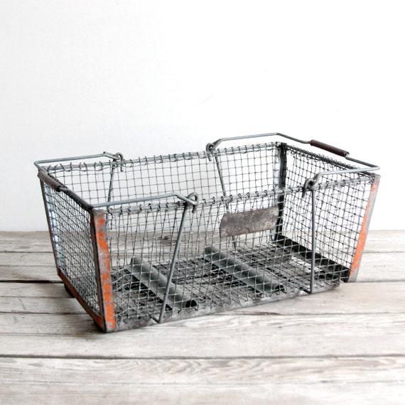 vintage wire egg carrying basket