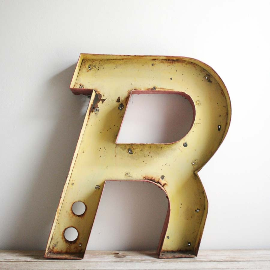 vintage drive in metal channel letter r With metal channel letters