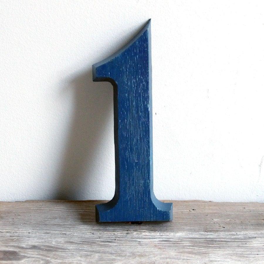 vintage blue sign number 1