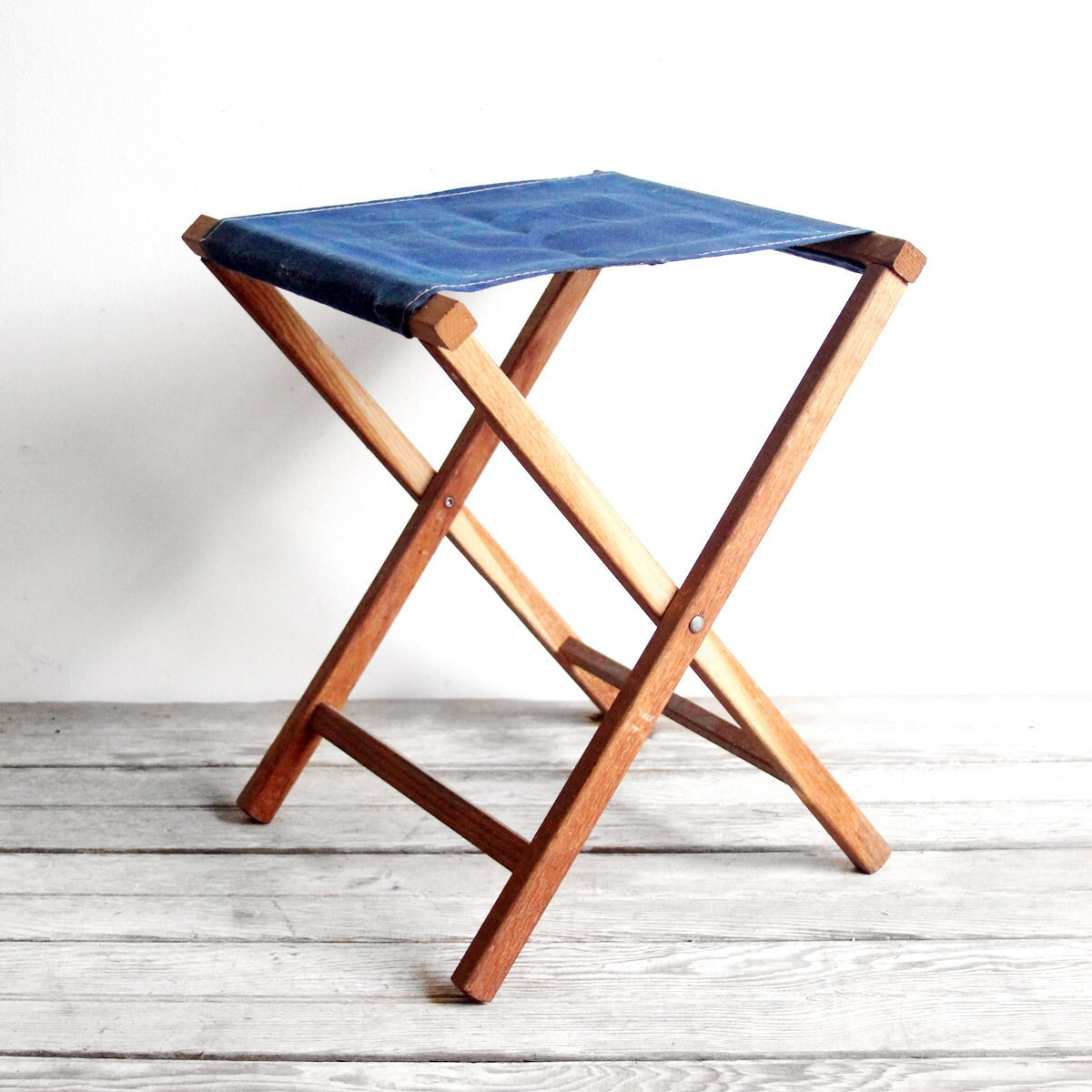 Vintage Blue Canvas Folding Stool