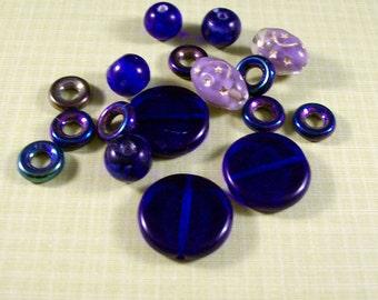 MIDNIGHT STAR Blue Glass Bead Mix