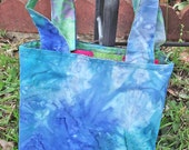 Reversible Purse - Blue Watercolors Batik