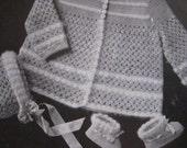 1949 Vintage Crochet PDF Patterns Baby Sweater, Bonnet, Booties Set 6701