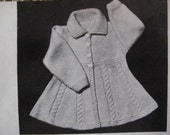 Vintage Knitting Pattern Infant and Toddler Girl's Flared Coat PDF Pattern 50B-31