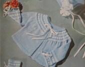 Vintage Baby Knitting Patterns PDF, Sweater, Bonnet, Booties, Mitts Set 170h