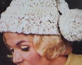 1960's Vintage Knitting PDF Pattern Women's Stocking Hat with Pom Pom 2174-165