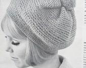 Knitted Hat Pattern, 1960's Vintage Hat Pattern, Beret Pattern PDF 1410