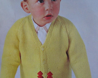 1960's Vintage Knit Pattern PDF Children's Cardigan Sweater 6327