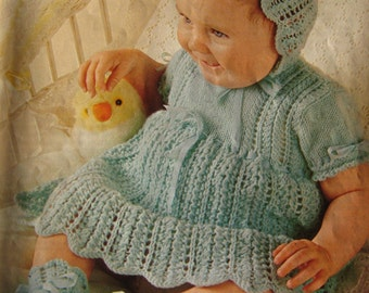 Vintage Knitting PDF Pattern Baby Dress, Bonnet, Bootees P176e