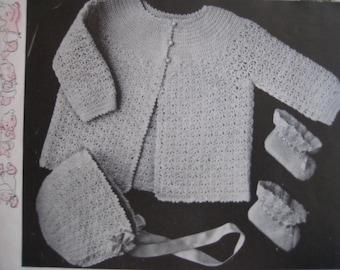 1949 Vintage Crochet Baby Set Patterns Sweater Bonnet Booties PDF Pattern 6714