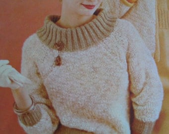 Knit Sweater Pattern - Vintage Pattern, 1960's Ladies' Knit Sweater PDF Pattern 424