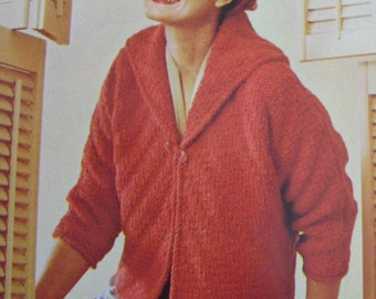 1960's Vintage Knitting Pattern PDF Women's Sweater Jacket 421