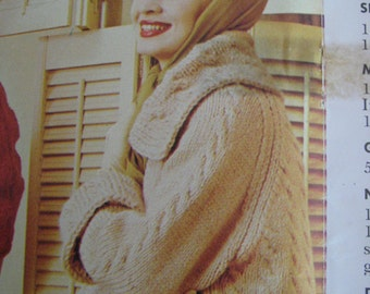 1960's Vintage Knitting PDF Pattern Women's Cabled Coat 435
