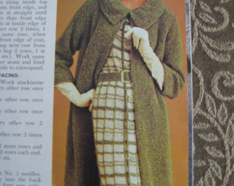 1960's Vintage Knitting PDF Patterns Women's Belted Dress and Coat 432, 442