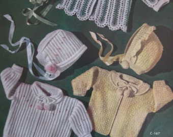 1950's 8 Vintage Crochet Patterns PDF Baby Sweaters Bonnets Booties 166, 167, 168