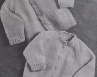 Vintage Knitting Baby Patterns Cardigan Sweaters PDF Pattern MM7