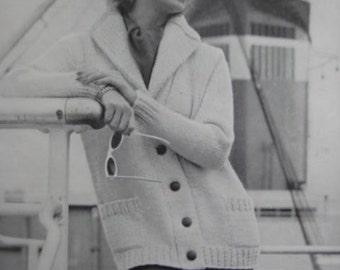 1960's Vintage Knitting Pattern PDF Women's Sweater Jacket 6415