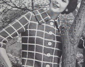 1960's Vintage Knitting PDF Pattern Women's Sweater Jacket 732-18