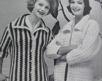 1960's 2 Vintage Knitting Patterns Women's Jackets 732-28, 732-29 PDF Pattern